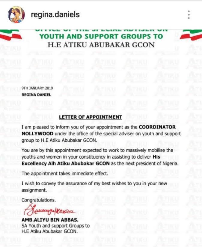 Actress Regina Daniels appointed Atiku campaign youth coordinator